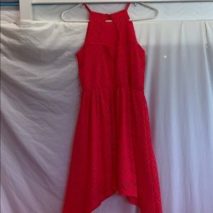 No Boundaries Dresses - A Red/Coral Dress with black tie up string